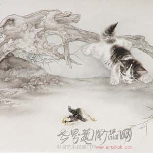 他擅长工笔动物及花鸟鱼虫画